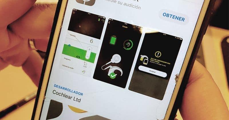 Movil con app para audífonos