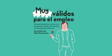 Images ilustrativa de Pablo Pineda con el texto de Guía para ayudar a las personas con discapacidad a encontrar empleo.