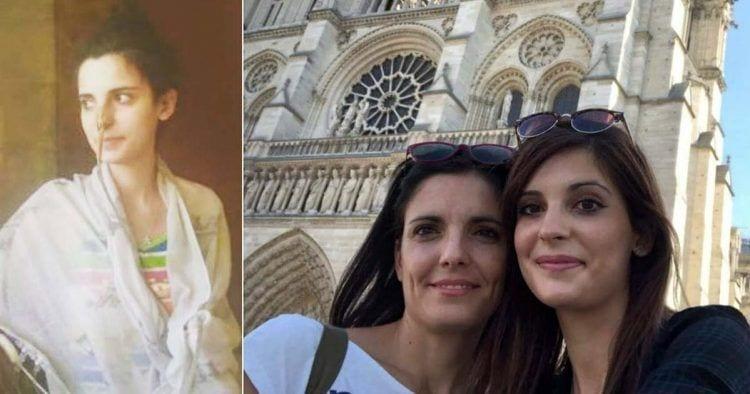 Carolina Cerezo durante una hospitalización (izq). Carolina y Gloria Cerezo en París (der)  | Foto de Gloria Cerezo
