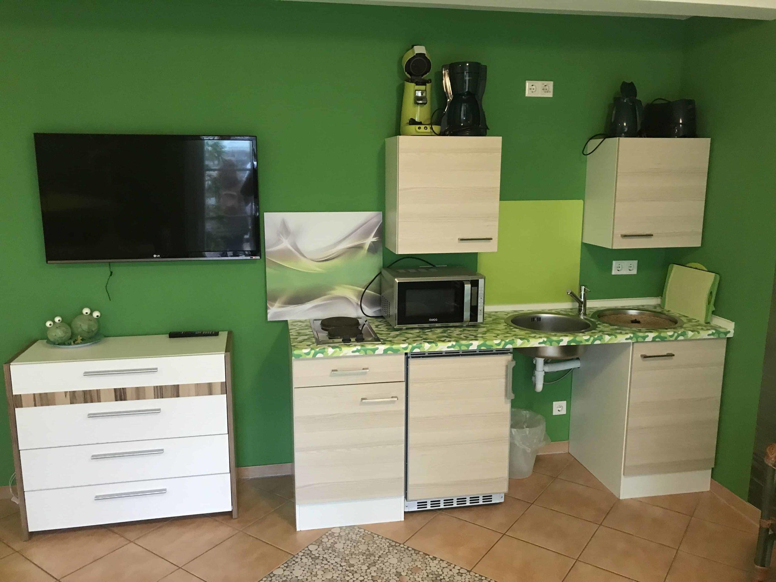 Cocina en la habitación con aparatos eléctricos y tonos verdes