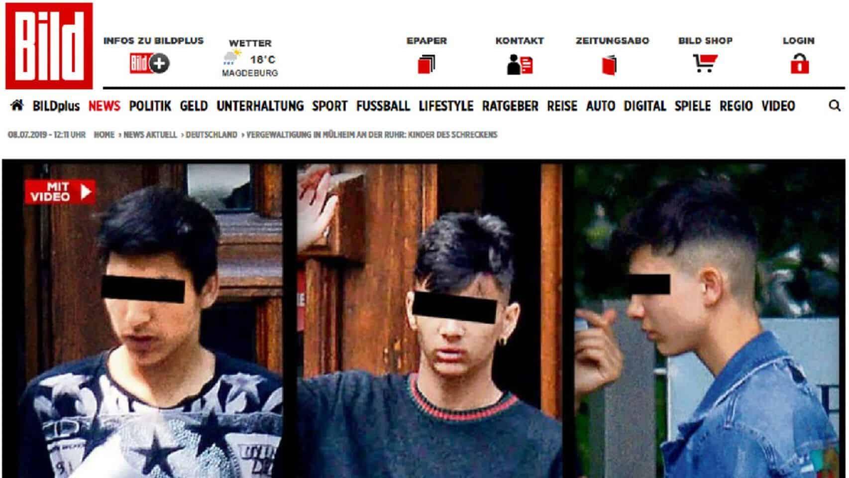 Portada del diario alemán Bild, con tres de los presuntos violadores