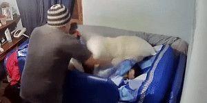 hombre agrediendo a usuario que está en la cama