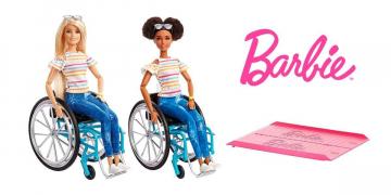 Barbie Fashionista en silla de ruedas y rampa