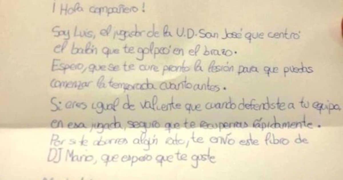 Carta niño futbolista