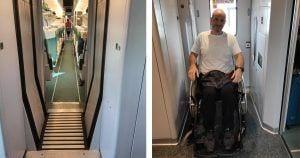 usuario silla de ruedas en el tren