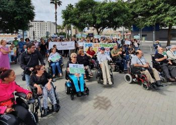 Algunos de los manifestantes durante la manifestación