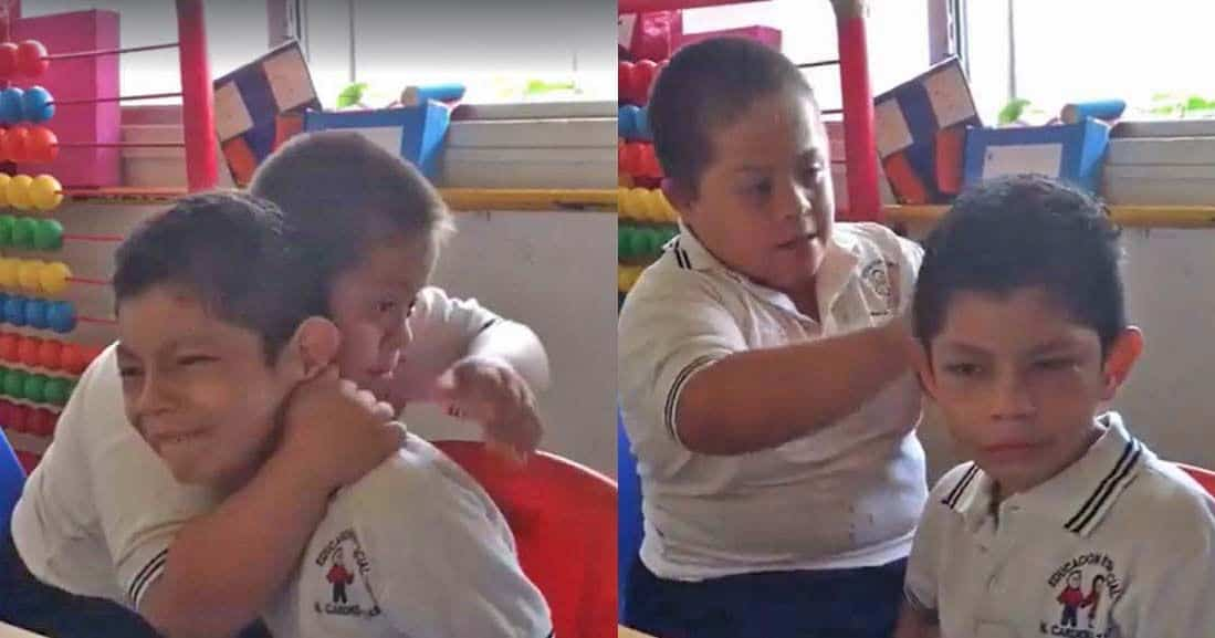 El abrazo viral de un niño con Síndrome de Down a su compañero con autismo