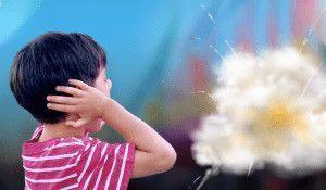 Niño tapándose los oídos al escuchar explotar un petardo