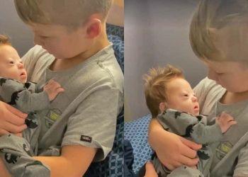 Un niño le dedica una emotiva canción a su hermano recién nacido con síndrome de Down y se hace viral en las redes