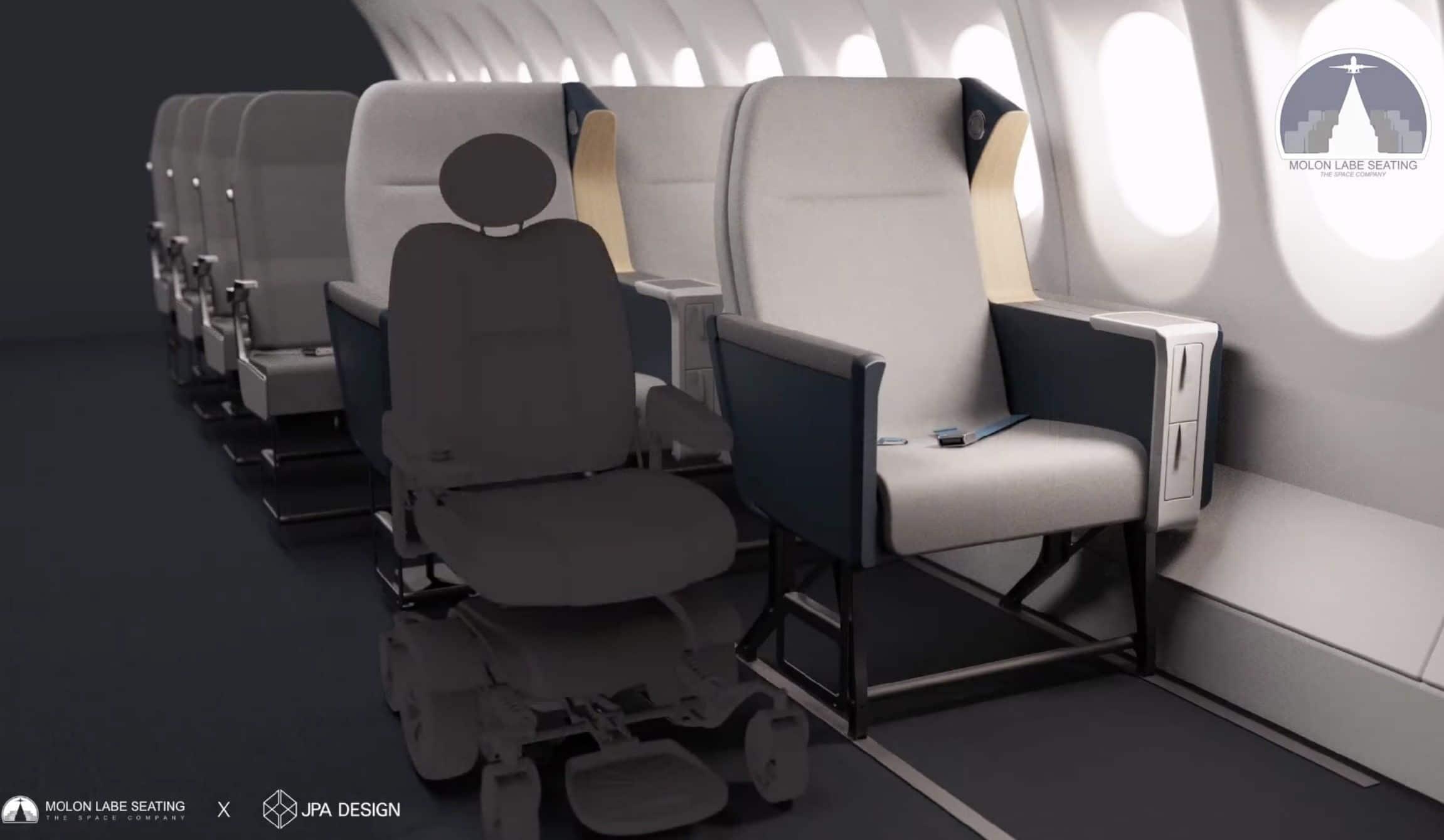 Asiento avión para silla de ruedas