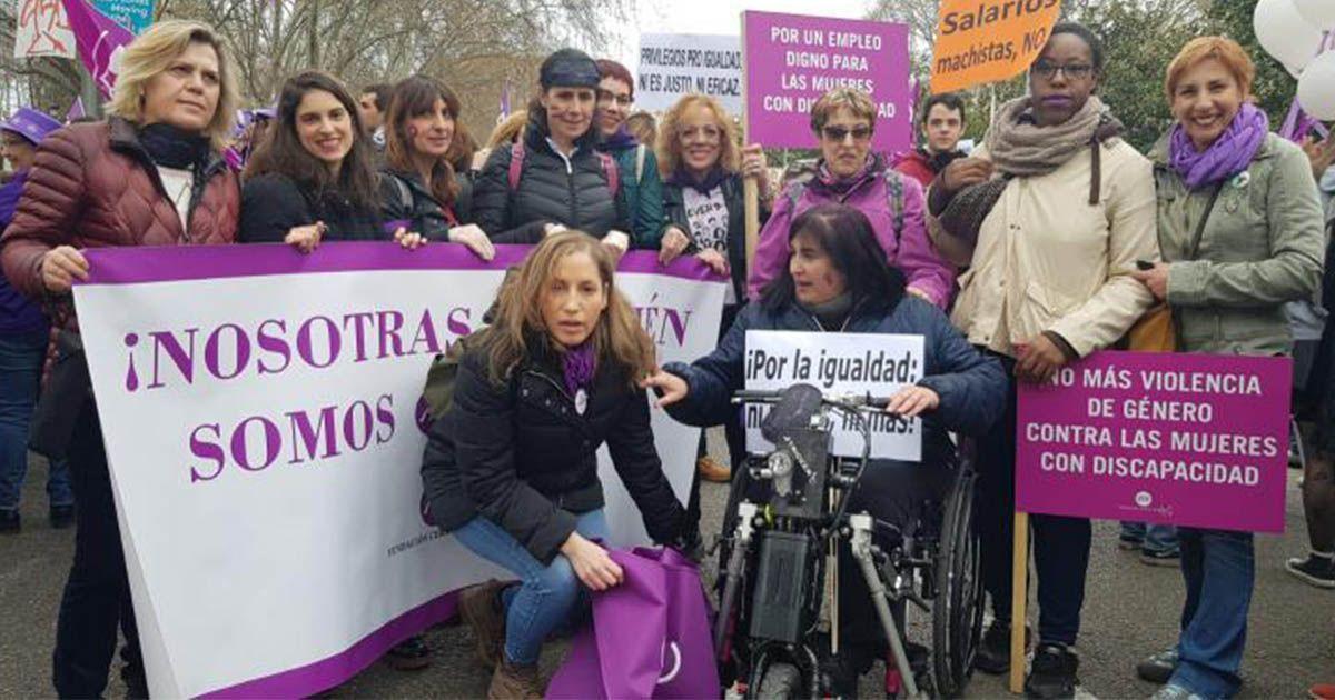 Mujeres con discapacidad durante la huelga del 8-M en Madrid   Foto: CERMI