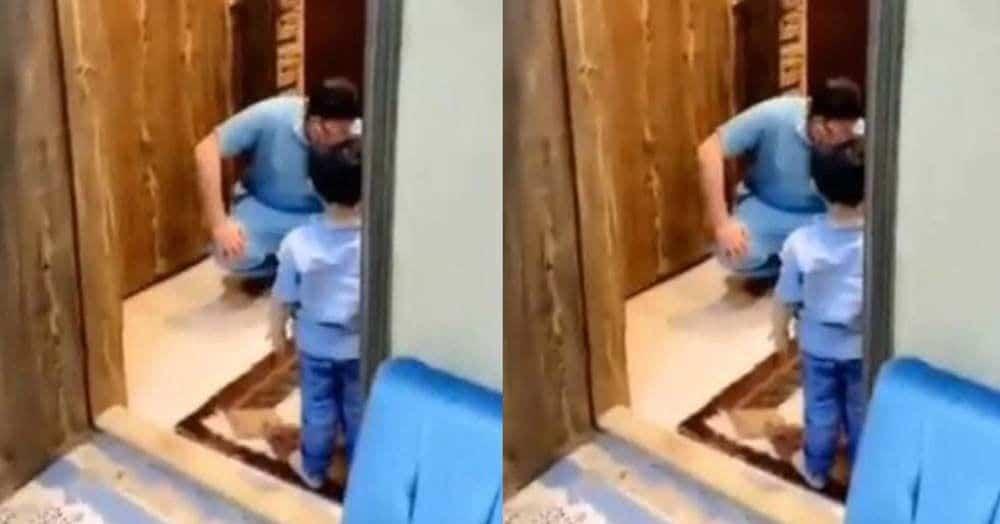 Un medico llora al llegar a casa de trabajar y no poder abrazar a su hijo por coronavirus