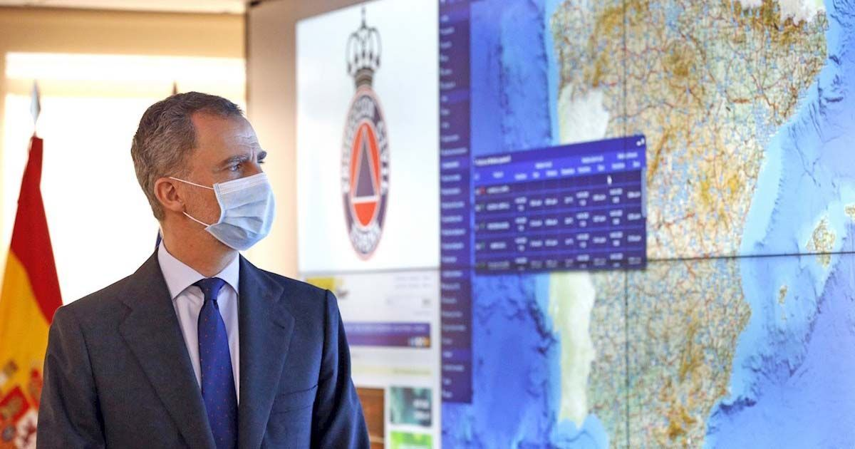 El Rey Felipe VI en su visita al Centro de Emergencias
