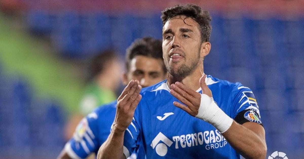 Jaime Mata, delantero del Getafe CF, celebrando el gol