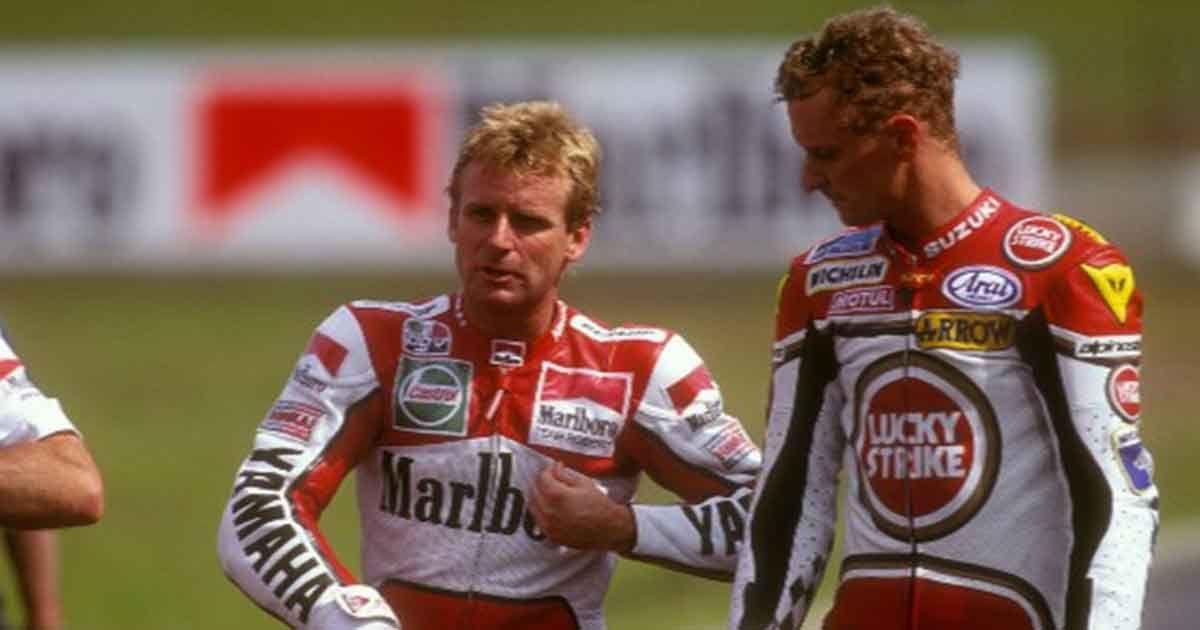 Rainey y Schwantz en los momentos previos a una carrera
