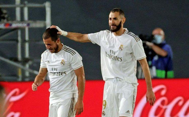 Benzema y Hazard en un partido del Real Madrid