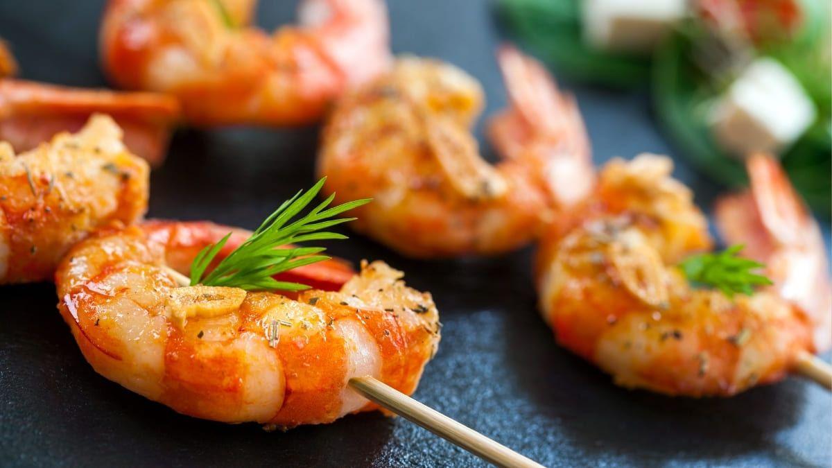 Langostinos, crustáceos, a la plancha