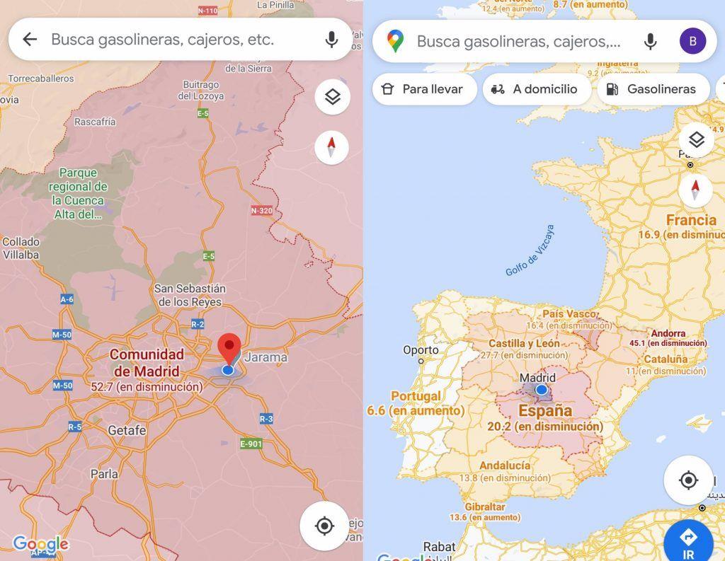 Función de Google Maps para ver casos de coronavirus