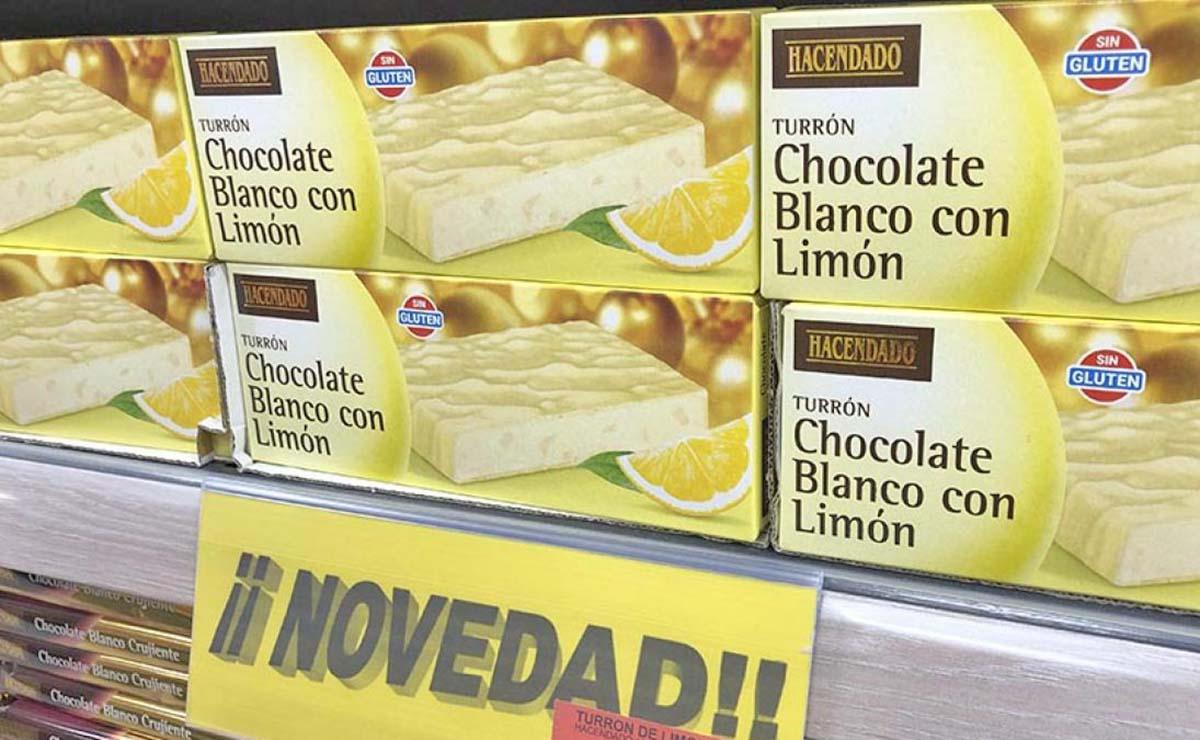Turrón de chocolate blanco y limón de Mercadona