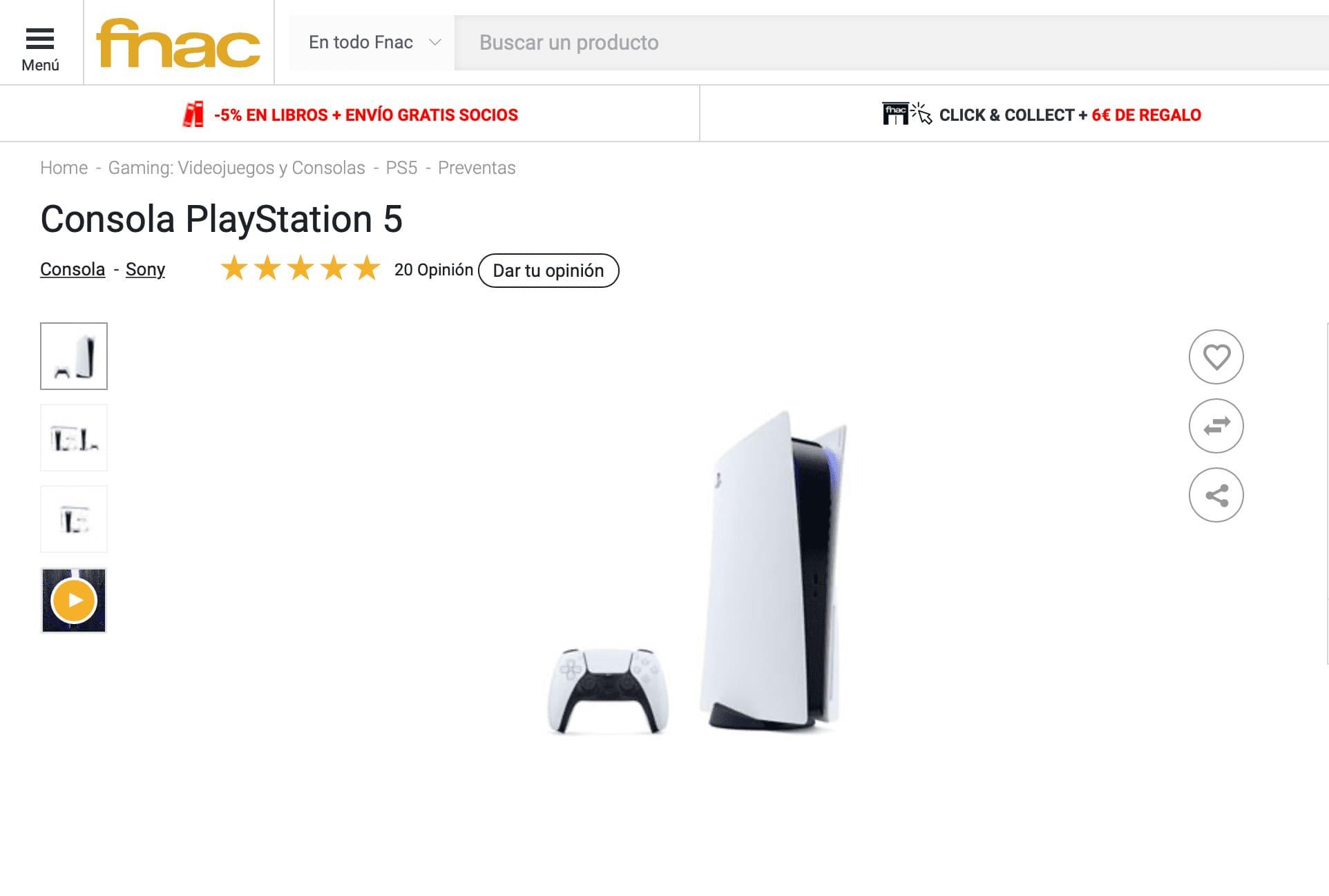 Como reservar PlayStation 5 Fnac