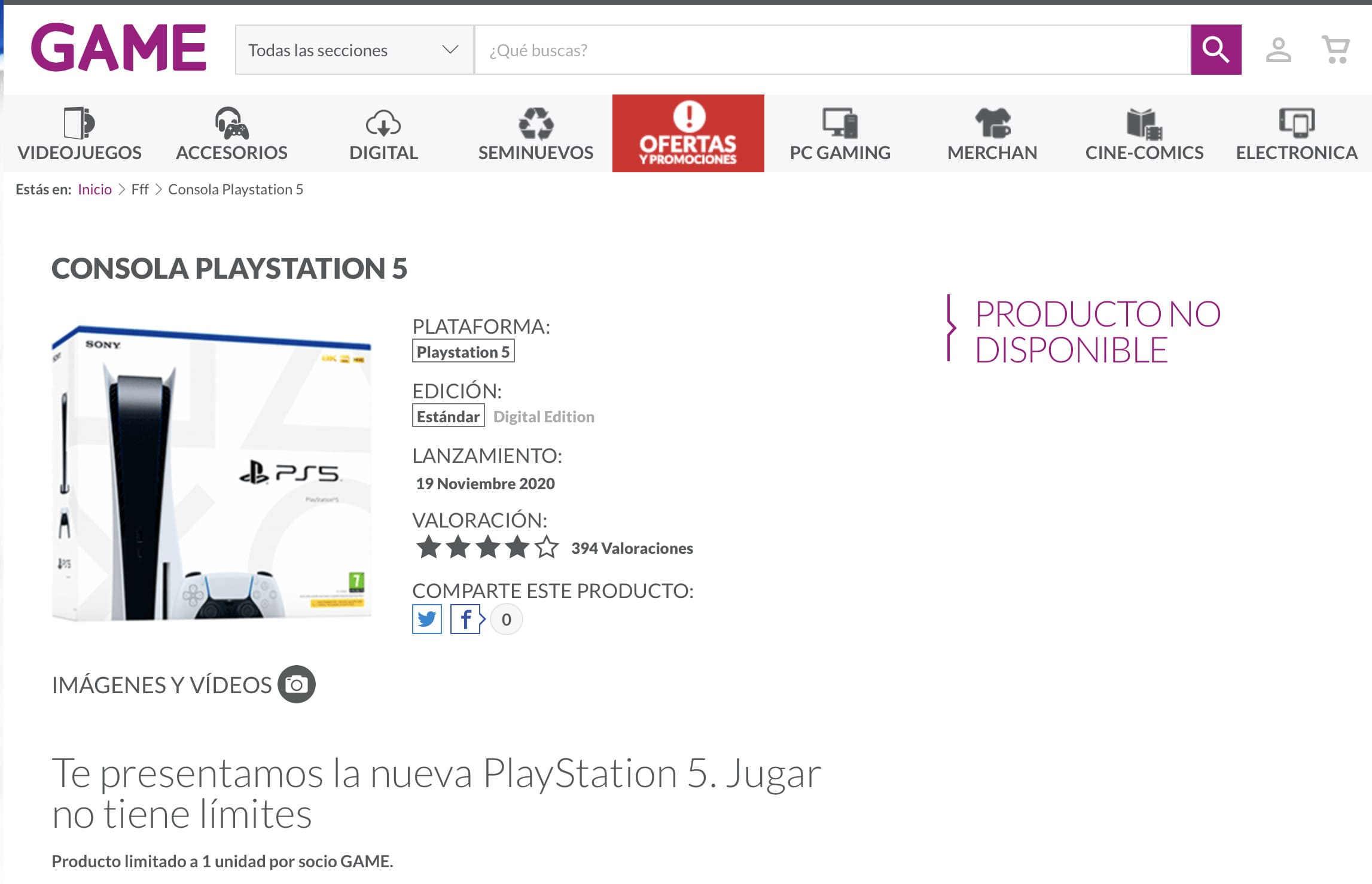 Reservar PS5 GAME