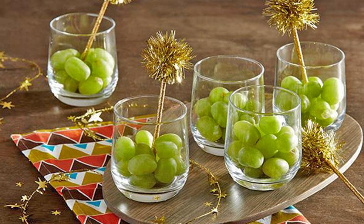 Uvas dispuestas para consumir en Fin de Año