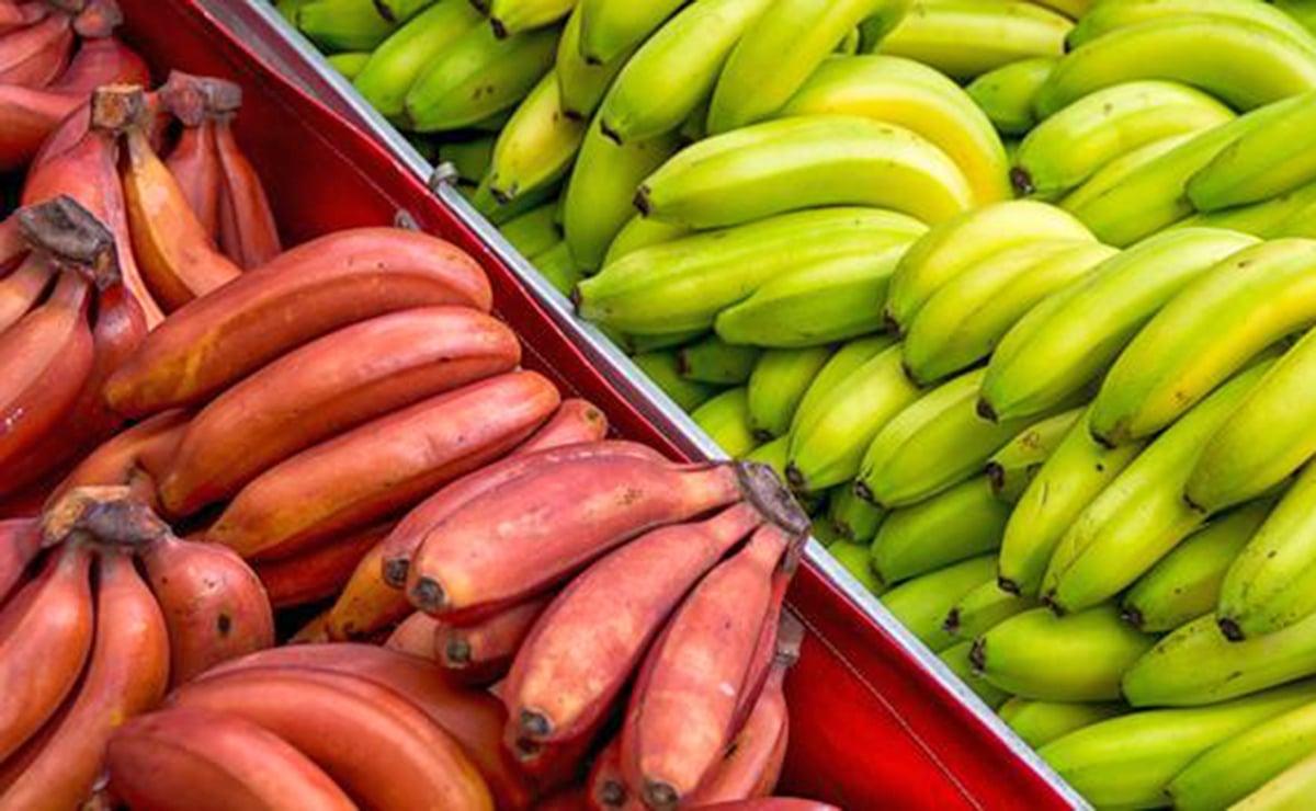 Plátanos rojos y plátanos amarillos en el mercado