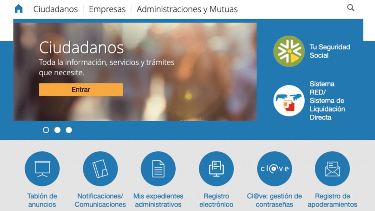 Página web Seguridad Social