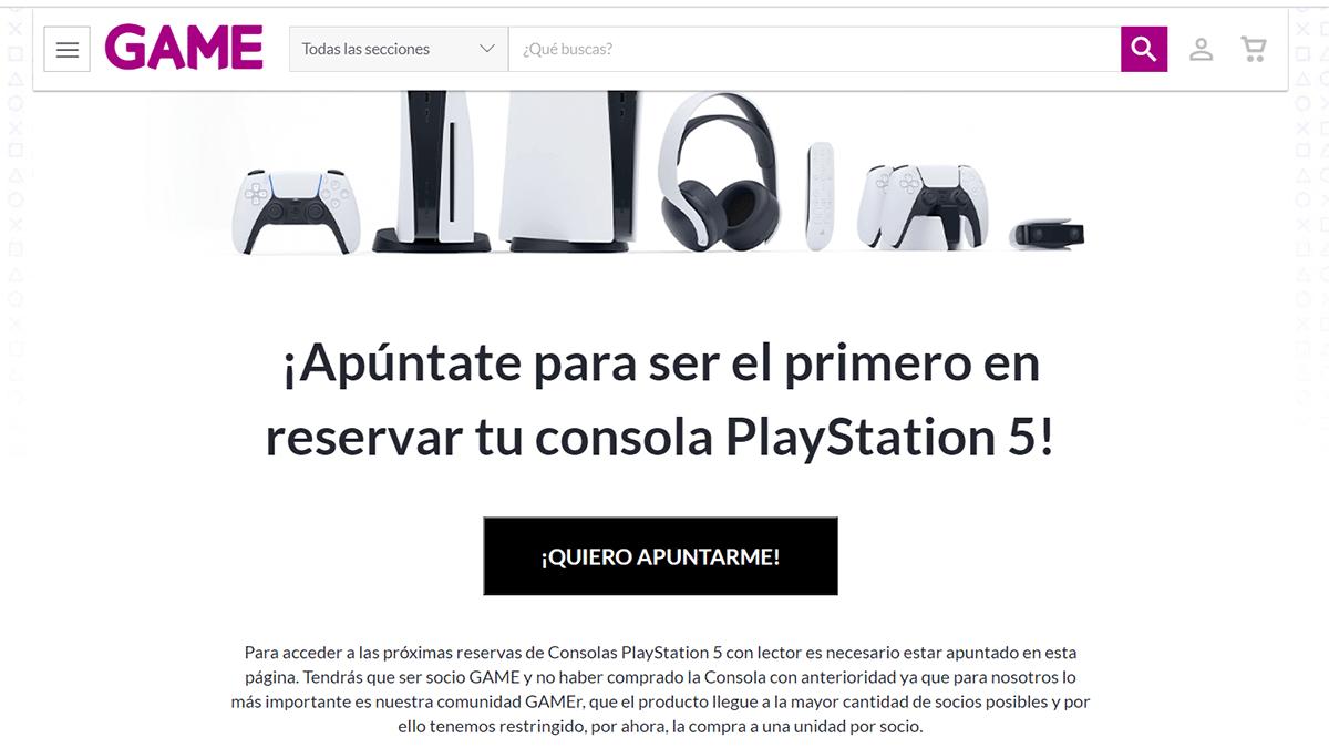 Reservar PS5 en GAME