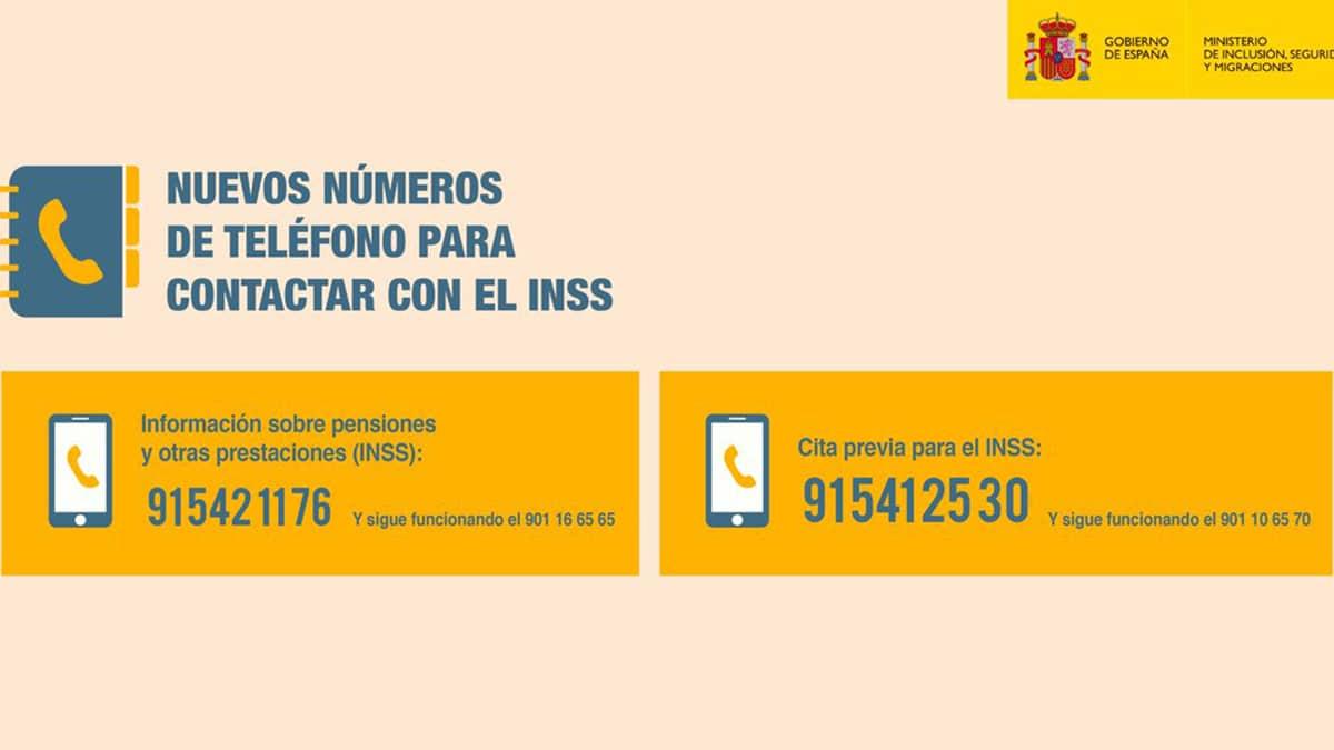Nuevos números de teléfono Seguridad Social