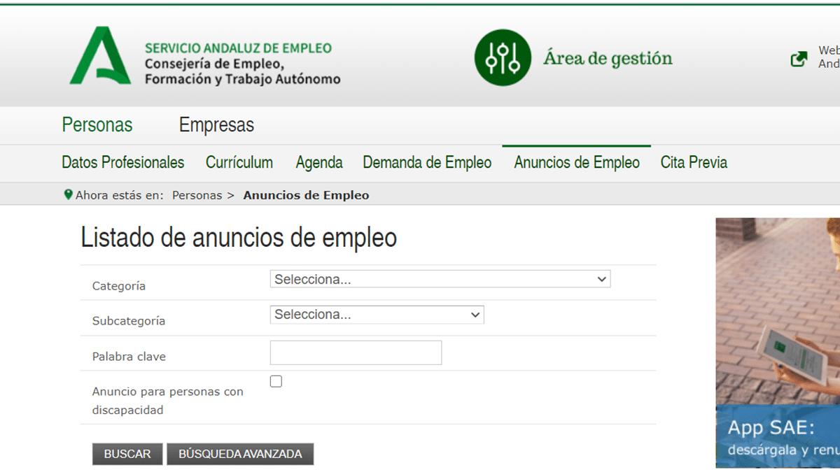 ofertas de trabajo SAE Junta de Andalucia