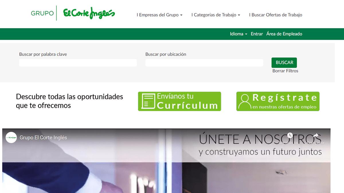 Portal web de empleo de El Corte Inglés