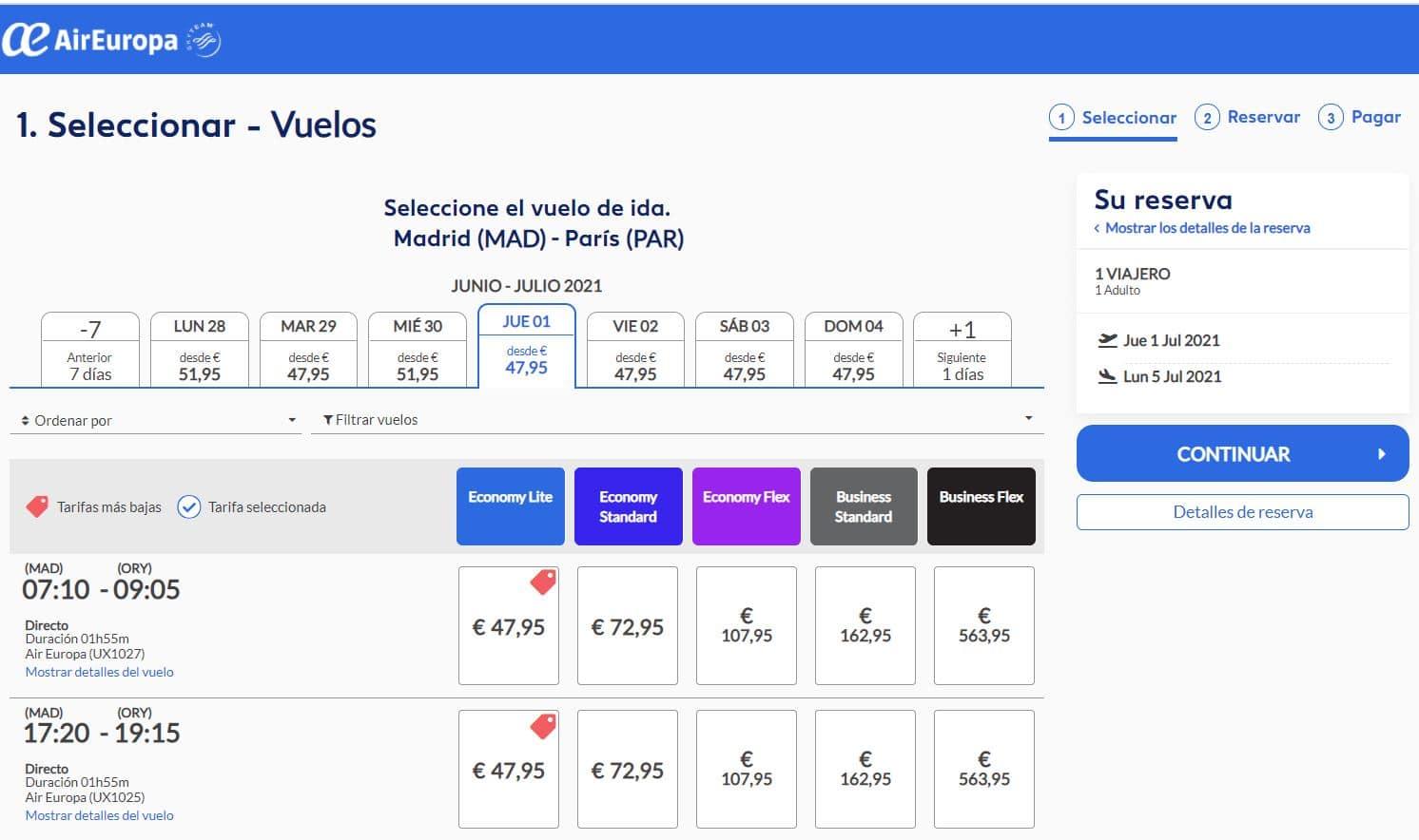Segundo paso para reservar un vuelo con Air Europa