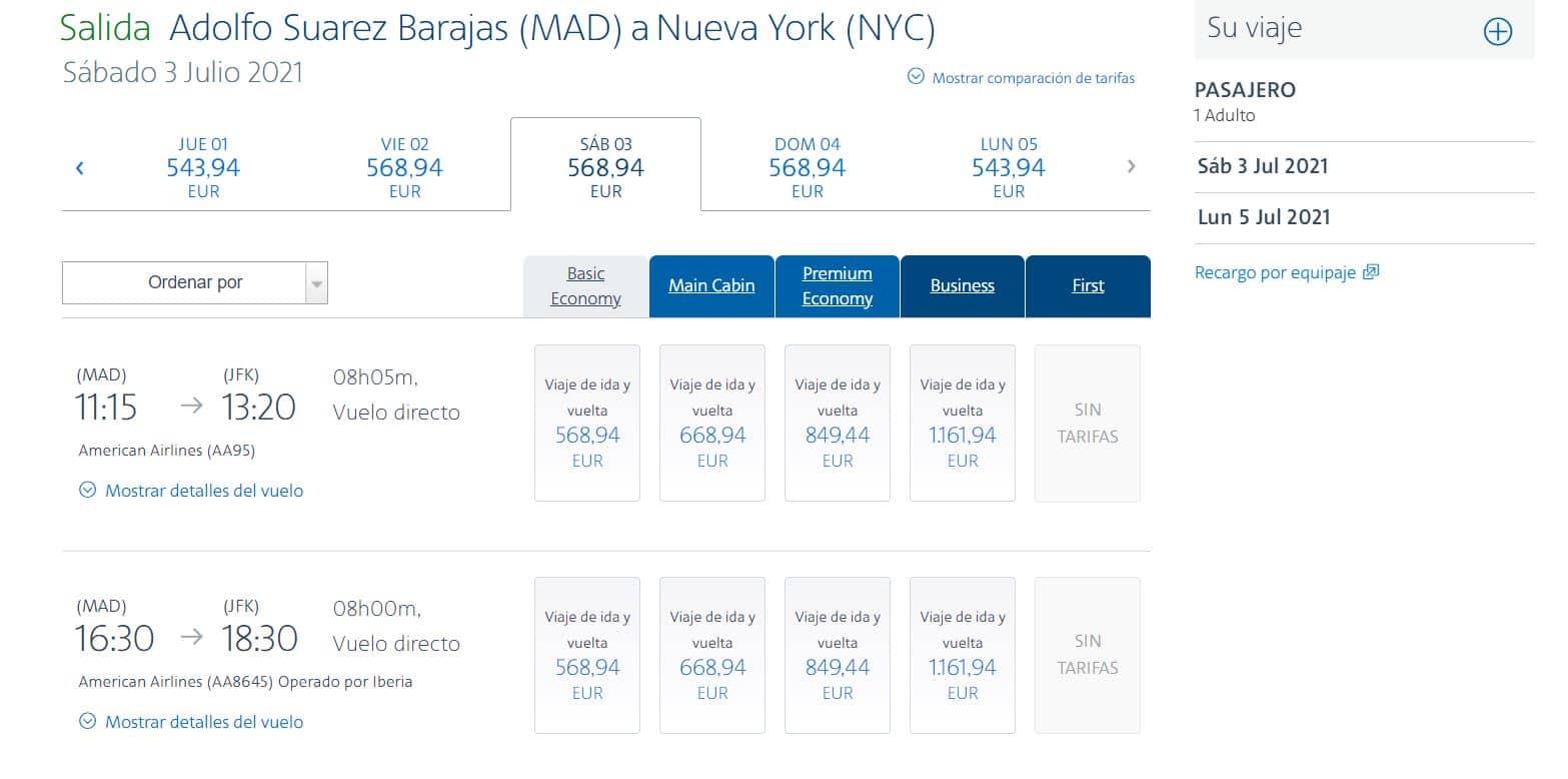 Cómo reservar vuelos en American Airlines paso 2