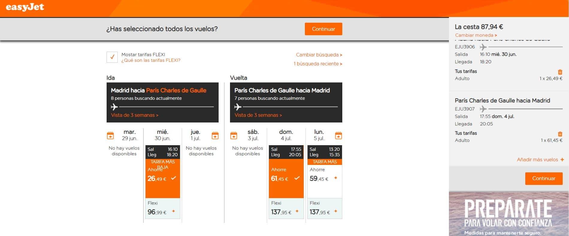 Paso 2 - Cómo reservar vuelos en EasyJet