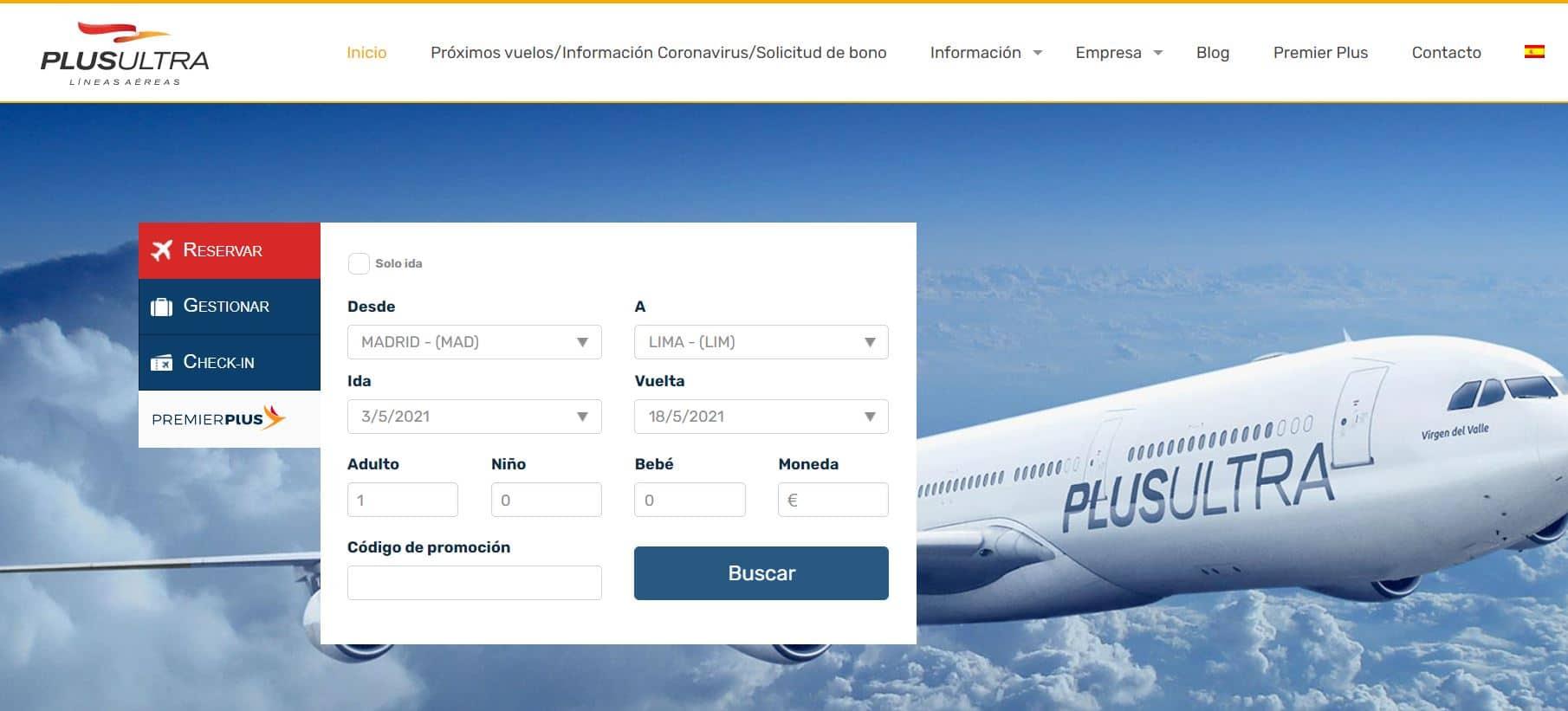 Cómo reservar un vuelo en Plus Ultra - Paso 1