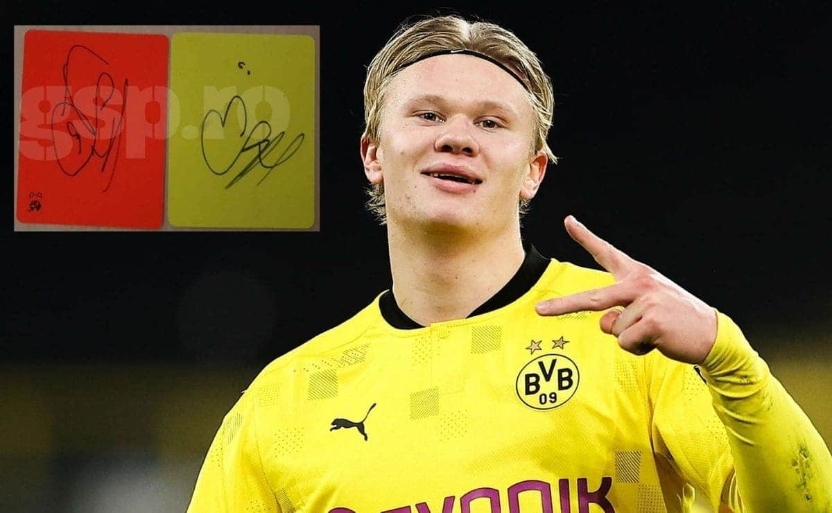 Haaland autismo tarjetas firmadas Champions League